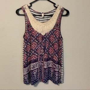 Anthropologie Sleeveless boho Embroidered Blouse
